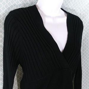 CAbi Black Sweater Ribbed V-Neck Size M